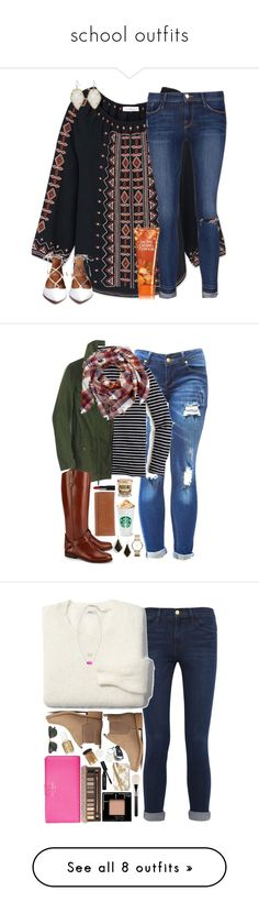 """school outfits"" by aletphobia ❤ liked on Polyvore featuring Tory Burch, Frame Denim, Kendra Scott, J.Crew, Marc by Marc Jacobs, NARS Cosmetics, Bobbi Brown Cosmetics, H&M, Urban Decay and Madewell"