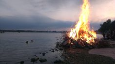 In the Finnish midsummer or Juhannus celebration, bonfires (kokko) are very common and are burnt at lakesides and by the sea: