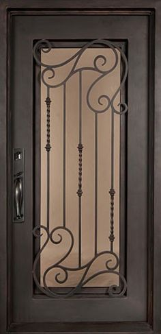 40x82 Affinity Iron Door. Beautiful wrought iron front entry door with grille from Door Clearance Center.