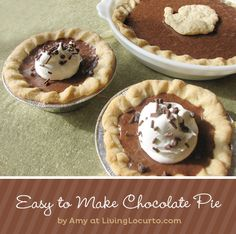 Fast & Easy #Chocolate Pie Recipe by Amy at LivingLocurto.com