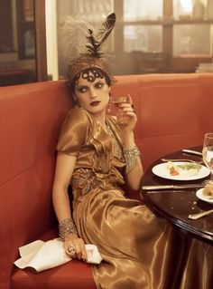Madame Bijou  Guinevere van Seenus went for Parisienne-chic in a Bohemian look, inspired by famous artist and singer Kiki de Montparnasse, September 2007.     Photographed by Steven Meisel