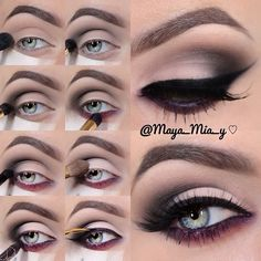 Perfect Cat Eye Liner Makeup Tutorial The initial make use of of model make-up Eye Makeup Steps, Cat Eye Makeup, Skin Makeup, Plum Makeup, Makeup Inspo, Makeup Inspiration, Maya Mia, Seductive Eyes, Seductive Makeup