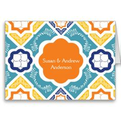 Mexican Tile Thank You Card Orange Navy Teal