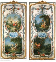 The Arts and Sciences (eight panels), ooc, 1750-52  Francois Boucher,  (Rococo) Fowling and Horticulture; Fishing and Hunting