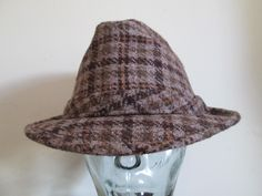 Mens Plaid Wool Fedora Hat Vintage 1970s Brown Feather Fall Wear
