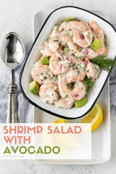 You can feel like you are in the tropics any time of year with this easy, make-ahead Shrimp Salad with Avocado recipe that uses frozen shrimp! #shrimp #salads #makeahead