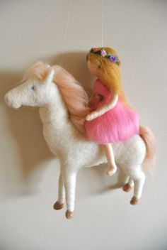 Baby Mobile Waldorf inspired needle felted : The Girl in Pink and the White Horse