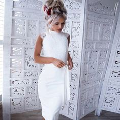 The dress features mock neck and tie waist. The dress has just one color, pure white. The dress is lace spicing and slim. The dress can make you more fashionable,sexy and beautiful. Tight Dresses, Sexy Dresses, Club Dresses, Clubwear Dresses, Bodycon Dress Parties, Lace Midi Dress, Party Dresses For Women, The Dress, Elegant Dresses