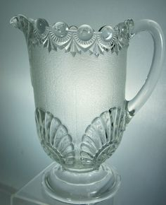 VINTAGE DEPRESSION GLASS FROSTED & CLEAR GLASS PITCHER SHELL/DROP PATTERN