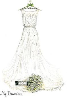 Personal Wedding Dress Sketch   Anniversary Gift   Wedding Gift   Wedding Day…