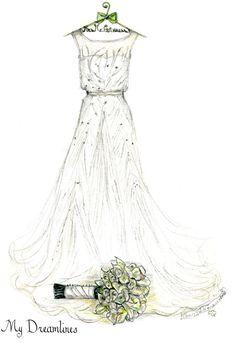 Personal Wedding Dress Sketch | Anniversary Gift | Wedding Gift | Wedding Day…