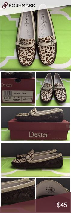 Dexter Brown Crocodile&Cheetah Print Loafers Great condition! No imperfections! Such a unique loafer! The cheetah print hair featured on the front is so fun and the crocodile on the sides is so chic! Great for work! Comes with original box. No lowballs, but feel free to make a reasonable offer! Dexter Shoes Flats & Loafers