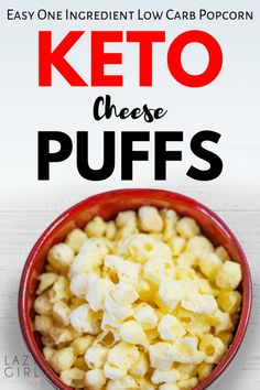 One Ingredient Low Carb Popcorn - Keto Cheese Puffs - Lazy Girl - Easy Dinner Recipes Low Carb Keto, Low Carb Recipes, Diet Recipes, Healthy Recipes, Vegetarian Recipes, Eat Healthy, Snack Recipes, Cheese Puffs, Keto Cheese