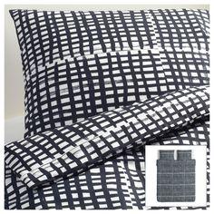 BJÖRNLOKA RUTA Dekbedovertrek met 2 slopen - 200x200/60x70 cm - IKEA