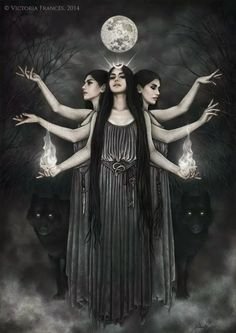 Hecate the goddess of witchcraft by Victoria Frances, one of my favourite artists. Hecate Goddess, Goddess Art, Moon Goddess, Goddess Of Nature, The Goddess, Luna Goddess, Religion Wicca, Triple Goddess, Witch Art