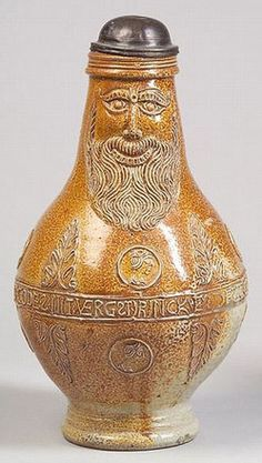 Stoneware; Bartmann, Krug, Bearded Mask, Pewter Lid, 11 inch.