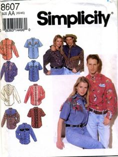 Simplicity Sewing Pattern 8607 1993 Misses Mens Girls Boys Gender Neutral Western Shirts Size Chest 3040 * Click image for more details.