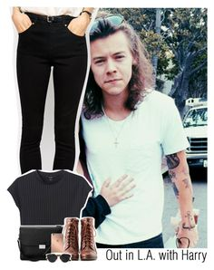 """""""Out in L.A. with Harry"""" by ndvalenciano ❤ liked on Polyvore featuring beauty, ASOS, Monki, Aspinal of London, Liz Claiborne, Mura and Christian Dior"""