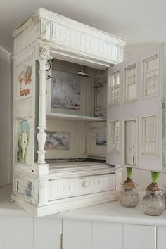 Jessica Zoob at home in the Wealden Time #interiors #fineart #design.  How fabulous is this little dolls' house with mini Jessica Zoob oils inside. So charming.
