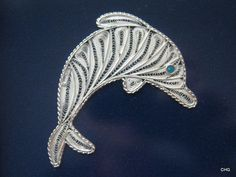 Handmade Silver Filigree Dolphin.