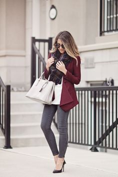 STEPHANIE STERJOVSKI : FALL EDIT: BURGUNDY BLAZER