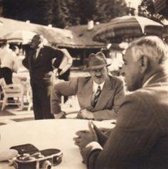 Original photo of Hitler in a suit at an outdoor meeting in Berchtesgaden. (via fuhrerbefiehl)