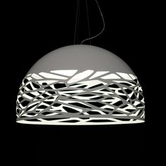Kelly pendant: Studio Italia Design Suspension, Polished milk-white metal Diffuser