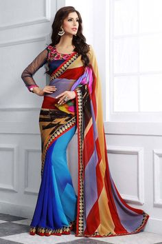 Buy Blue Georgette Party Wear Saree Online in low price at Variation. Huge collection of Party Wear Sarees for Party, Festivals, Engagements and Ceremonies. #party #partywearsarees #sarees #onlineshopping #latest #lowprice #variation. To see more - https://www.variation.in/collections/party-wear-sarees