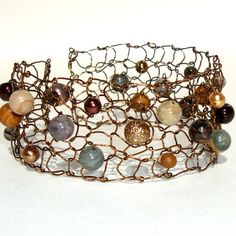 Urban Stone Cuff Knitted Copper Wire Bracelet Natural Agate Fall Winter Fashion / Woodland Earthy Brown Moss Ivy