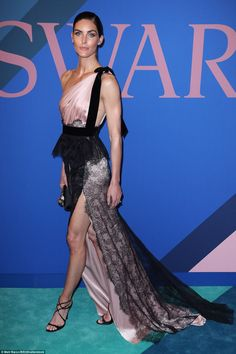 Legs for days: Hilary Rhoda incorporated lace, black and blush tones in her stunning gown by Marchesa