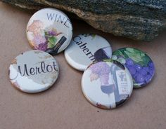 Wine Lover  - set of 5 wine themed button magnets by jessijewels, $6.00