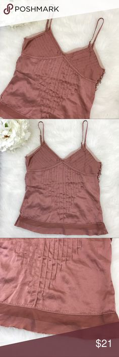 "Abercrombie & Fitch | Silk Mesh Tank Top 100% Silk rose dust tank top with adjustable shoulder straps. Side button detail. Mesh detail. Size small. Bust: 30"" Length: 22"" No flaws. Abercrombie & Fitch Tops Tank Tops"