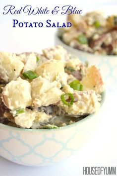 Red White and Blue Potato Salad.  The perfect side dish made with baby red potatoes, blue cheese, and of course..bacon!