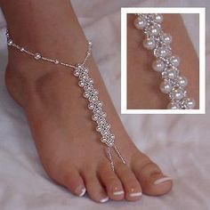 Items similar to Beach Wedding Barefoot Sandals, Elegant Swarovski Pearl Sandals, Fresh Water Pearl Sandal, Dainty Foot Jewelry, Footless Sandals on Etsy Beaded Foot Jewelry, Anklet Jewelry, Body Jewelry, Feet Jewelry, Chain Jewelry, Silver Jewelry, Silver Ring, Jewelry 2014, Jewelry Ideas