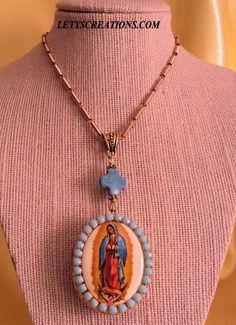 Catholic Our Lady of Guadalupe Cameo, Locket Shrine Religious Pendant #Handmade #CameoLocketShrine www.letyscreations.com
