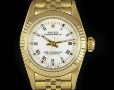 Rolex Non-Date Ladies Yellow Gold White Roman Dial 67198 Dating Women, Swing Tags, Rolex Oyster Perpetual, Roman Numerals, Oysters, Gold Watch, Yellow, Lady, Accessories