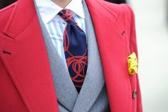 red overcoat with contrast pick stitching