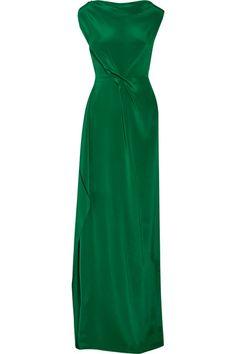 ROLAND MOURET Goodard Gathered Silk Crepe De Chine Gown. #rolandmouret #cloth #dresses