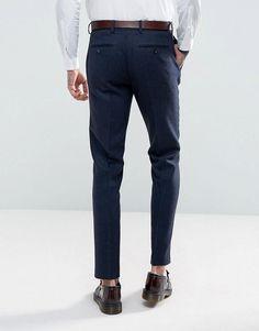Gianni Feraud Slim Fit Navy Herringbone Suit Pants - Navy