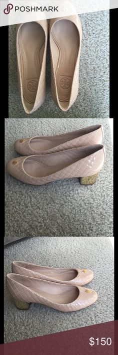 """Tory Burch """"Kent,"""" Nude Patent Quilted Pump, Sz 7 Tory Burch pump provides stable sophistication in quilted patent leather with easy-to-wear heel. Tory Burch quilted patent leather pump. 1 3/4"""" covered block heel. Golden logo detail at round toe. Leather lining and padded insole. Rubber sole with textured inset. Tory Burch Shoes Heels"""