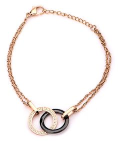 Look at this Cubic Zirconia & Rose Goldtone Interlocked Circle Bracelet on #zulily today!