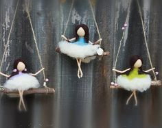 Swinging Girl Mobile, Fairy, Fairie, Needle felted ,CHOOSE a COLOUR, Waldorf, Wool, Hanging Decor, Sparkly, Flowers