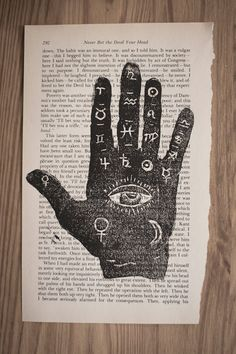 Original Linocut Palm Reading Chart on a Book Page