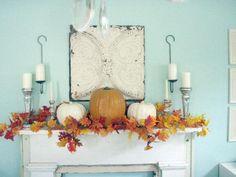 Mantel  Decorations : IDEAS &a  INSPIRATIONS : Blue Background Mantel