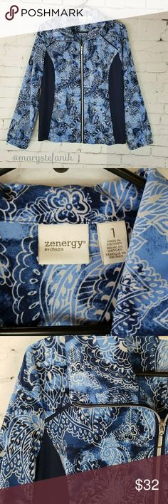 "Chico""s Zenergy Blue Exercise Casual Jacket 1 (M) Chico's Zenergy Blue Exercise Casual Jacket size 1 (M) in excellent used condition. Very light weight material. Beautiful print!  Waist from seam to seam approx: 18"" Length from top approx: 23""  Please let me know if you have any questions. Happy Poshing! Chico's Jackets & Coats"