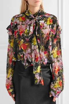 Preen By Thornton Bregazzi Woman Cora Printed Devoré Silk-blend Chiffon Top Black Size M Preen Collections For Sale Sale Amazing Price Outlet Eastbay Buy Cheap Manchester Great Sale Outlet Pay With Paypal X5RuudihmS