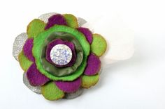 Flower brooch/Felted brooch/Felt and leather by SoutacheByMagpie, £9.00