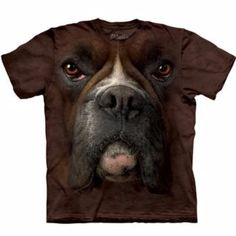 Take the dog you love every where with their face on your Human T-Shirt by The Mountain! - Big Face Animal Tee. - Shirt for adult humans. - Boxer on shirt. - Pre-shrunk to fit. - 100% cotton dyed shir