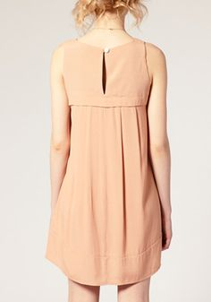 ++ Nude Pink Buttons Round Neck Sleeveless Dacron Dress