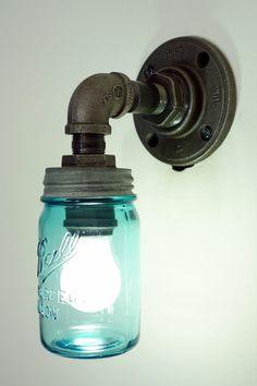 Small Mason Jar Wall Sconce Mason Jar Light Pint Mason Jar Black Iron Industrial Steampunk Style via Etsy